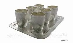 Pure Silver Fine Hammer Tumbler Set With Tray