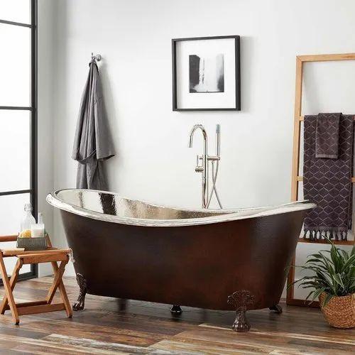 72 Inch Hammered Copper Slipper Clawfoot Bathtub