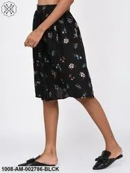 Floral Print Black Skirt for Women
