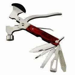 Silver Stainless Steel 10 in 1 Multi-Functional Pocket Hand Tool Set (Axe Hammer)