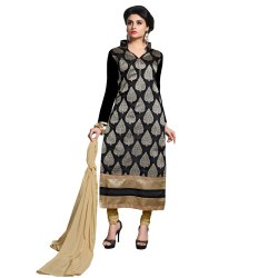 Black Colored Chanderi Unstitched Salwar Suit