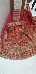 Floral Design Velvet Bridal Lehanga Choli
