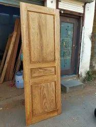 Single Sagwan Teak Wood 3 Panel Solid Wood Door