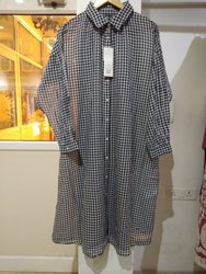 Full Sleeve Grey Women's Cotton Long Shirt, Size: Free Size