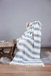 Jaipuri White & Blue Block Printed 100% Cotton Throws