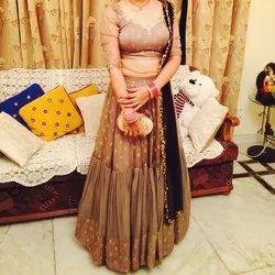 Brown Organza Ladies Wedding Lehenga Choli, Black, Dupatta Fabric: Net