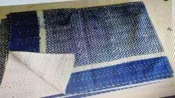 Hand Block Print Kantha Indigo Bed Quilt