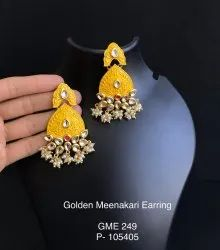 Brass Casual Golden Traditional Earrings