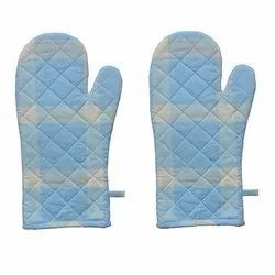 Blue Cotton Mitten Gloves