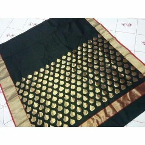 Black Chanderi Saree, 5.5 M (separate Blouse Piece) ,packaging Type: Box