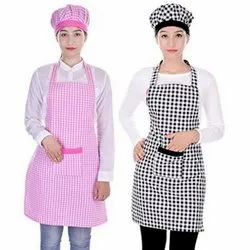 Checked Polyester Kitchen Apron With Cap