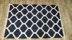 Vimla International Black Handwoven Cotton Punja Dhurrie, Size: 4 X 6 Feet