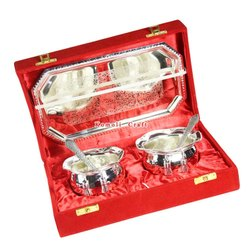 Hot Item Handi Shape Silver Plated Gift Set for Diwali Gifts Wedding Favors