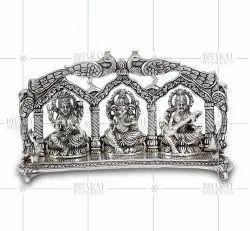 Silver Plated Laxmi Ganesh Sararwati Murti