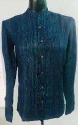 Blue Regular Fit Banana Men Shirt, Size: 44