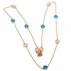Pink Chalcedony & Blue Topaz Necklace