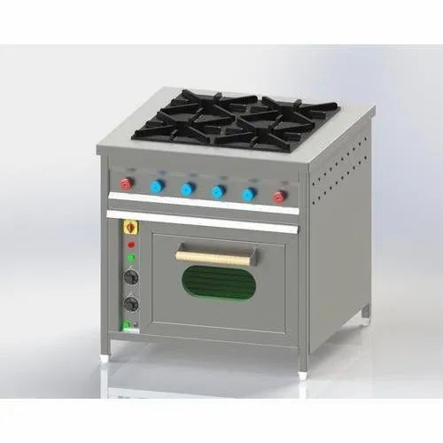 Stainless Steel 4 Four Burner Range with Oven Underneath, for Kitchen