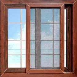 Aluminium Wooden Finish Sliding Window