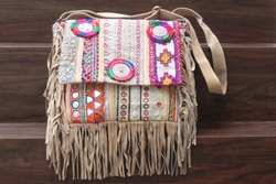 vintage banjara leather shoulder bag