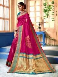 Traditional Art Silk Weaving Saree, 6.3 mtr