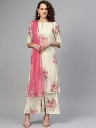Ladies Kurti With Palazzo and Dupatta