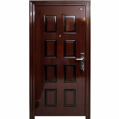 Mild Steel Wooden Finish Swing Door, for Home