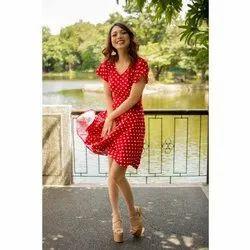 Polka Printed Georgette Ladies Print Short Dress, Size: 38-48