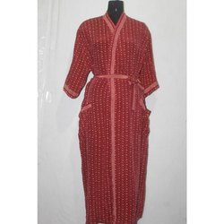 Women's Vintage Silk Sari Kimono Bath Robe Maxi Gown Dress