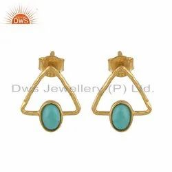 Natural Turquoise Gemstone Designer Silver Gold Plated Stud Earrings Jewelry