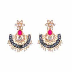 Blue Meenakari Jaipuri Kundan Earring