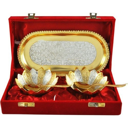 Generic Silver And Gold Plated Brass Bowl Set