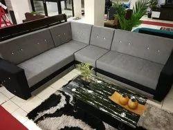 Wood And Fabric Designer L Shape Sofa Set