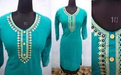 3/4th Sleeve Casual Wear Ladies Blue V Neck Cotton Kurta