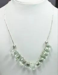 Green Amethyst 925 Sterling Silver Well Carved Necklaces