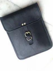 Black Unisex Leather Ipad Bags