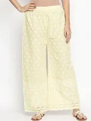 Women's Cotton Full Chikan Palazzo
