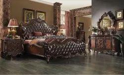 Brown Wooden Carved Antique Bed
