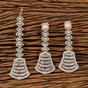 White Cz Two Tone Plated Earring With Tikka 405608
