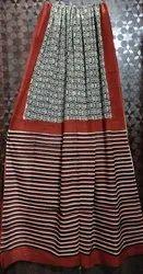 Hand Block Prints Casual Wear Banarasi Cotton Sarees, 6 m (with blouse piece)