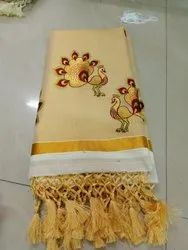 Kerala Kasavu Sarees with Peacock Embroidery