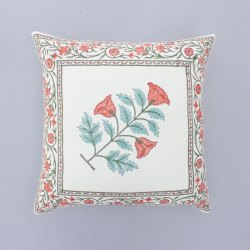Floral Decorative Hand Block Print Cushion Cover