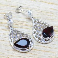 Garnet Gemstone 925 Sterling Silver Jewelry Fine Earring