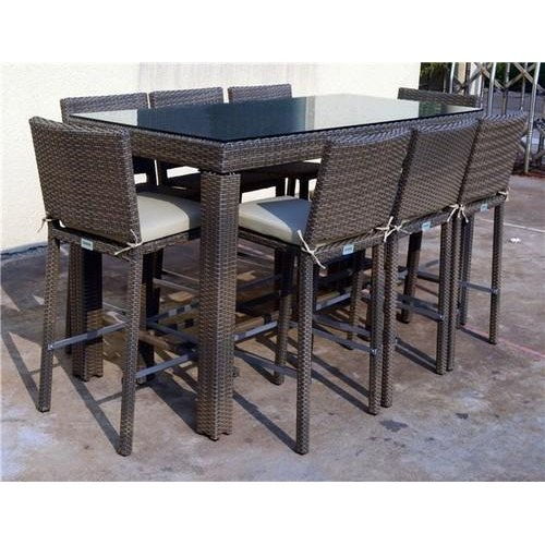 Brown 8 Seater Garden Cane Wicker Dining Table