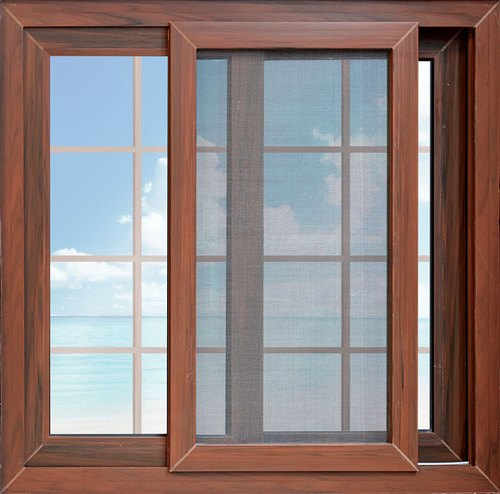 Brown Paint Coated Aluminium Sliding Glass Window