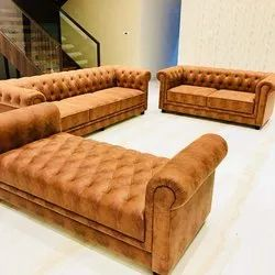 Beize Wooden Rastogi Cushioned 3,2,2 Seater Sofa, For Home, Living Room