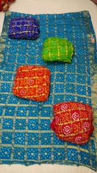 Silk Bandhani Saree, Embroidery: No
