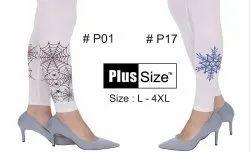 Cotton Churidar Bottom Printed White Legging, Size: L-4XL