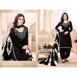Black Color Embroidered Worked Cotton Fabric Patiala Salwar Kameez