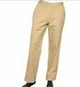 Mens Cream Flat Trouser