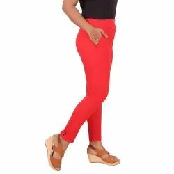 Plain Bottom Wear Ladies Red Lycra Pant, Waist Size: Available In 28, 30 And 32